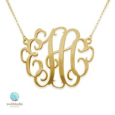 """2"""" Oversized Monogram Necklace in 18k Gold Plated over Sterling Silver by SwirlStudioDesigns, $89.00"""