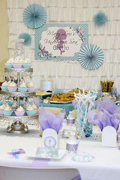 Purple and blue mermaid birthday party! See more party ideas at CatchMyParty.com!