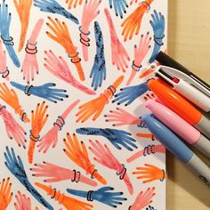 It's day 51 of #100daysofrandomcolours and I'm kick starting the second half of this project with some pink, neon orange and blue sharpie hands that have been decorated in black felt pen and red biro...Loving this combo! ✋✋