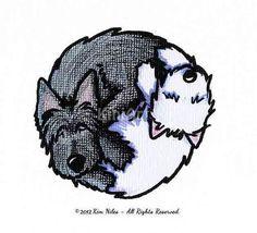 Original de arte dibujo de perros terrier Yin Yang Artista firmó el dibujo ORIGINAL del arte de perro terrier por el artista KiniArt, Kim Niles.
