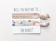 A personal favorite from my Etsy shop https://www.etsy.com/listing/486481829/bridesmaid-hair-tie-favorhair-tie-card