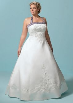Ball Gown Halter Floor-length in Satin Plus Size Wedding Dress