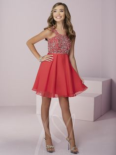 Beautiful beading sparkles on this scoop neck and chiffon short dress. Perfect for a Bat Mitzvah or to wear to your middle school dance, you will definitely have fun when you're wearing this dress! The corset tying back makes sure the dress fits you perfectly!  from three lovely colors: Pomegranate, Ivory, or Sangria.