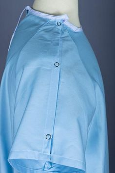 8 inch overlap with ties 60 inch sweep with 45 inch length 3 inch sleeve inseam Snap sleeve for IV Heavyweight poly-cotton sheeting. comes in color Mint and Light Blue Only! Hospital Uniforms, Hospital Gowns, Healthcare Uniforms, Medical Uniforms, Lab Coats, Fields, Light Blue, Shirt Dress, Fashion Outfits