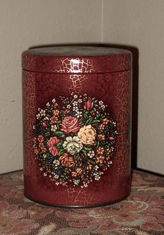 Vintage Decorative Tin - Daher - Red Floral Tin with Roses and Gold Crackle by Luv2Junk on Etsy