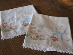 Pineapple House Antiques - Vintage Embroidered Bird & Floral Pillowcases