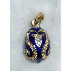 Floral Imperial pendant in dark bue  #babushka #russiandoll #matryoshka #dollsindolls #pendant #faberge #handmade #jewelry