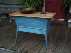 1840 Dough Box on Stand with Lid Old Style Blue Paint Dovetailed Mortised NR 19th c Early PA Dough Box Splayed Legs Patina riser. Sold Ebay 575.00