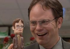 """When Angela gave Dwight the best Valentine's Day gift ever: 19 Times Angela And Dwight From """"The Office"""" Were Actual Relationship Goals Dwight K Schrute, Dwight And Angela, The Office Dwight, Office Jokes, That's What She Said, Cozy Mysteries, Bobble Head, Bobble Bobble, Ann Arbor"""