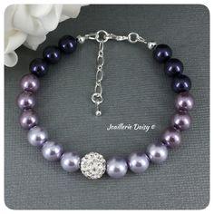 Swarovski Lavender Purple Pearl Ombre Single Strand Bracelet