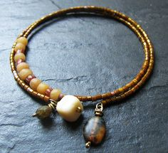 Rustic Rose Gold  Indonesian Glass Picasso Seed Bead by Grubbi, $10.00