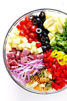 This Rainbow Antipasto Pasta Salad is the perfect way to use up leftover antipasto ingredients! Plus, it's easy to make, tossed with a zesty Italian herb vinaigrette, and absolutely delicious! Antipasto Pasta Salads, Antipasto Platter, Pasta Salad Recipes, Pasta Salad Italian, Italian Antipasto, Cooking Recipes, Healthy Recipes, Delicious Recipes, Summer Salads