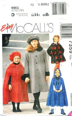 McCall's 7359, Girl's Coat, Cape, Hat, UNCUT FF, Size 10, 12, 14, Chest 28-32, Halloween costume, Red Riding Hood, American Girl by MySewingChest on Etsy