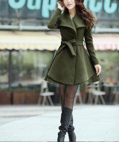 Pink / Khaki / Orange /Green/ wool women coat by supergirlbeauty