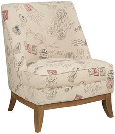 Chic postal stamp motif upholstery gives this sophisticated accent chair cosmopolitan appeal. Oak and oak veneer construction. Style # at Lamps Plus. Armless Accent Chair, Upholstered Arm Chair, Accent Chairs, Armchair, Selling Furniture, My New Room, Upholstery, Furniture Design, Stamp