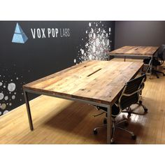 "WRKTBL01 | 72""L x 54"" x 30H"" Pallet Furniture, Light Decorations, Industrial Style, Conference Room, Furniture From Pallets, Meeting Rooms, Wood Pallet Furniture, Industrial Chic, Rustic Industrial Decor"