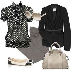 black, white, and polka dot.love for work Style Me, Cool Style, Teacher Wear, Fashion Ideas, Women's Fashion, White Clothing, Dress For Success, Disney Fun, White Outfits