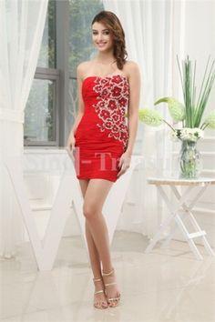 Red Short/ Mini Beading Chiffon Sheath/ Column   Cocktail Dress/ Evening Dress
