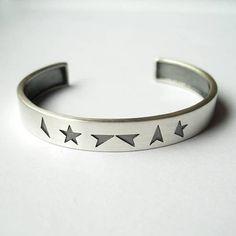 Black Star Silver Cuff Bracelet Silver Cuff