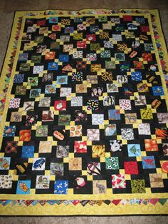 I Spy Matching Quilt - Made using Disappearing Nine Patch pattern with a Prairie Point border.