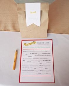 Keep guests entertained with custom Mad Libs-style cards