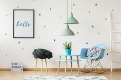Pillow on blue rocking chair next to table with plant in child's photo by bialasiewicz on Envato Elements White Furniture, Vintage Furniture, Interior Decorating Tips, Interior Design, Home Staging, Lamp Design, Rocking Chair, Pillows, Chair Pillow