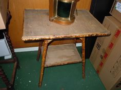 269. ANTIQUE-BAMBOO-WOOD-NIGHT-STAND-END-TABLE-VINTAGE-QUALITY-RATTAN-NICE-WICKER