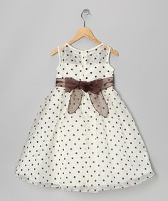 Ivory & Brown Polka Dot Dress//