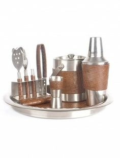 Set of - Cocktail Shaker, Ice Bucket, Bar Tool set, Tray and Peg Measurer