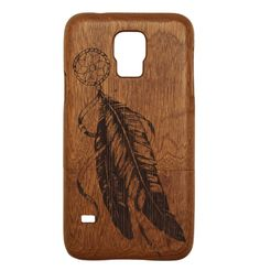 Dreamcatcher Feather Samsung Case Wooden Samsung Case available for the Samsung Galaxy S3, Galaxy S4, Galaxy S5, Note 2, Note 3, and Note 4 - by All Wood Everything