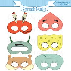 Sponges Printable Masks squid mask starfish by HungryPandaSupplies -$4.00 INSTANT DOWNLOAD