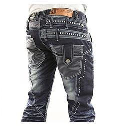 Japrag JR3141 Mens Designer Dark Blue Stonewashed Casual Denim Slim Fit Jeans (36R)