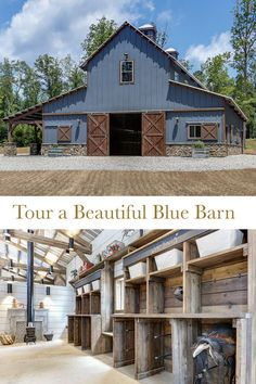 Step inside a beautiful horse barn in North Carolina The ultimate goal was to create a non-traditional horse barn. The memorable blue hue and layout was carefully thought out. Horse Barn Plans, Barn House Plans, Horse Barns, Horse Horse, Barn With Living Quarters, Horse Barn Designs, Small Barns, Small Barn Home, Small Barn Plans