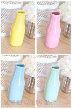 Cute as a Button party theme supplies | Pastel milk bottles