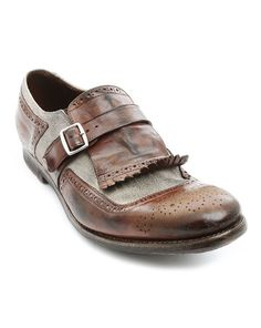 Shangai Brown Linen and Leather Brogues