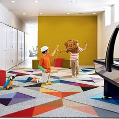Game room - Love the varied depth and texture of this geometric patterned floor tiles from Flor. Room Carpet, Carpet Tiles, Carpet Flooring, Rugs On Carpet, Kids Area Rugs, Kids Playroom Rugs, Flor Rug, Playroom Flooring, Carpet Squares