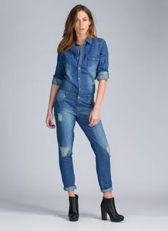 Make It Work Denim Jumpsuit BLUE