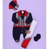 Saída de Maternidade Marinheiro Enxoval Para Bebê Menino Azul Malha 04  Peças Enxoval De Bebe Menina 5598f85b1c5