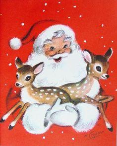 Santa holding deer