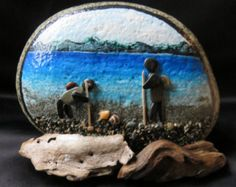 pebble art pebbleart painted rock stone ocean beach beachcombing beachcombers driftwood sand water shell