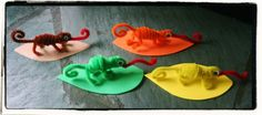 """Chameleon Pipe Cleaner Animals - """"A Color of His Own"""" Activity - Lines Across"""