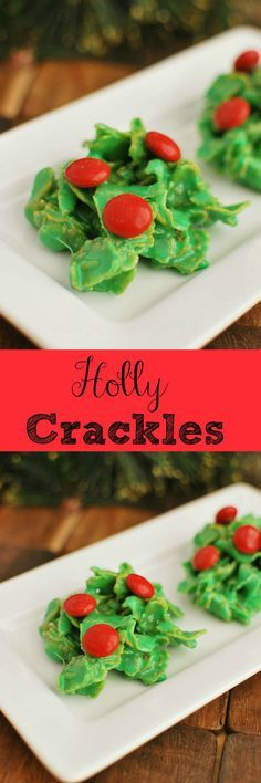 Holly Crackles - Cute Christmas cookies and so easy with just 5 ingredients! Cute Christmas Cookies, Christmas Deserts, Noel Christmas, Holiday Cookies, Holiday Desserts, Holiday Baking, Holiday Treats, Holiday Recipes, Christmas Candy
