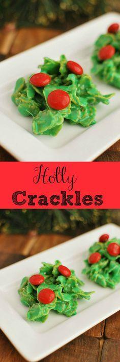 Holly Crackles - Cute Christmas cookies and so easy with just 5 ingredients! Cute Christmas Cookies, Christmas Deserts, Christmas Cookie Exchange, Noel Christmas, Holiday Desserts, Holiday Cookies, Holiday Baking, Holiday Treats, Holiday Recipes