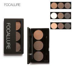 Focallure Augenbraue Pulver 3 Farben augenbraue Pulver Palette Wasserdicht und Wisch Mit Spiegel und Augenbraue Pinsel Innen