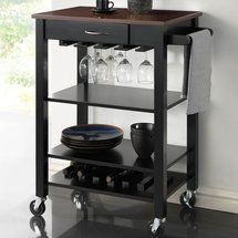 Coaster Nj-08810-2516 Kitchen Cart With Butcher Block Top