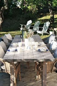 How to build a outdoor table Outdoor Areas, Outdoor Dining, Outdoor Tables, Dining Table, Outdoor Decor, Garden Furniture, Cheap Furniture, Outdoor Furniture Sets, Furniture Online