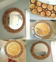 Superior Wooden Slices Spherical Mirror to Beautify Your Clean Wall - House Interior Designs Wood Mirror, Diy Mirror, Decorate Mirror, Round Wooden Mirror, Mirror Letters, Spiegel Design, Wooden Slices, Circular Mirror, Deco Originale