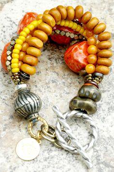 African Sunrise Bracelet: Honey Gold, Amber, Tangerine, Yellow and Bronze Mixed Media Bracelet