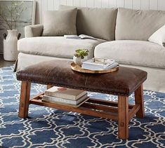 30 Ottoman Leather Coffee Table Ideas For Modern Living Room : 30 Ottoman Leather Coffee Table Ideas For Modern Living Room Leather Ottoman Coffee Table, Leather Bench, Decorating Coffee Tables, Coffee Table Design, Upholstered Ottoman, Black Furniture, Accent Furniture, Pottery Barn, Living Room Furniture