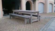 Washed table and benches